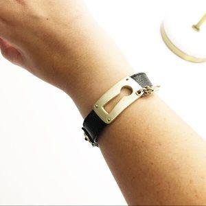 Fossil Keyhole Leather ID Bracelet